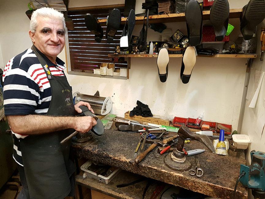 Jack in his workshop at Gordon Shoe Repairs