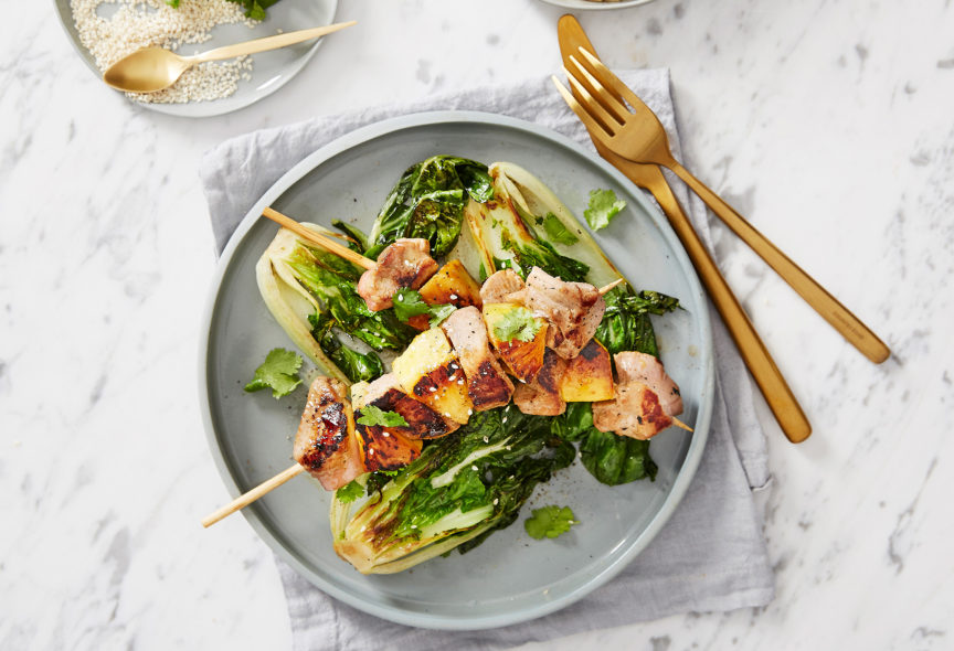 Five Spice Pork and Pineapple skewers with bok choy