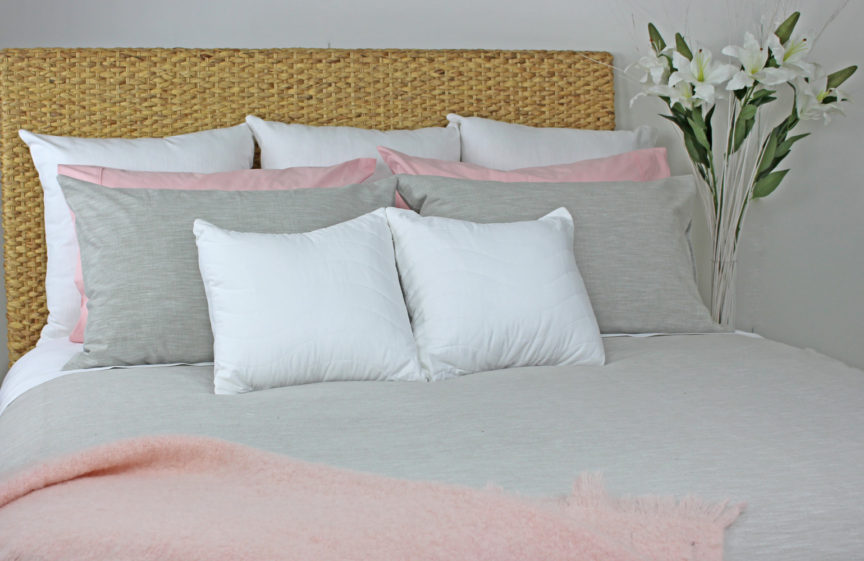 bed grey quilt cover, white sheets 2