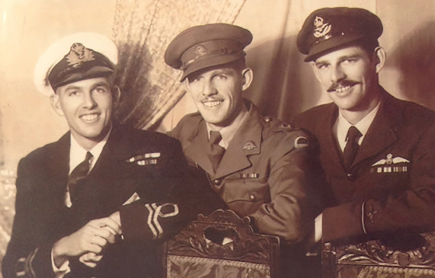Len Marjason (right) & his brothers during the war. Photo: Courtesy of Len Marjason